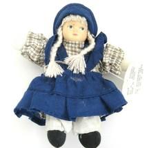 Cloth Doll with Resin Face Blue Jumper Brown Plaid Dress Braids Blue Eye... - $4.69