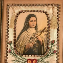 Antique Framed Saint Therese Banner - $270.72