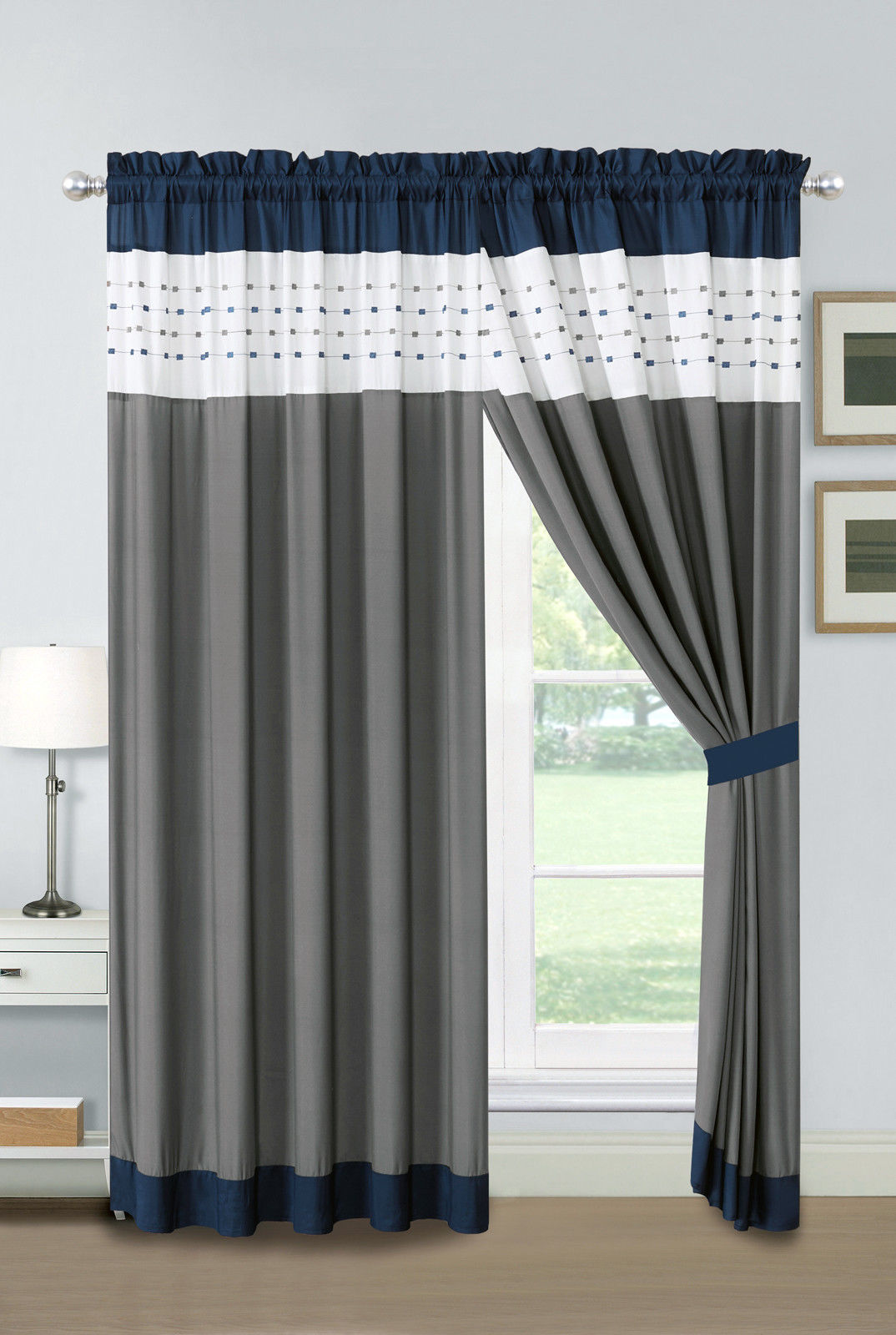 Primary image for 4P Jasper Embroidery Square Stripe Curtain Set Navy White Gray Drape Sheer Liner