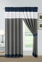 4P Jasper Embroidery Square Stripe Curtain Set Navy White Gray Drape She... - $40.89