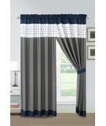 4P Jasper Embroidery Square Stripe Curtain Set Navy White Gray Drape She... - $40.89