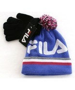 Fila Purple Knit Cuff Pom Beanie & Stretch Gloves Youth Boy's 8-20 NWT - £21.79 GBP