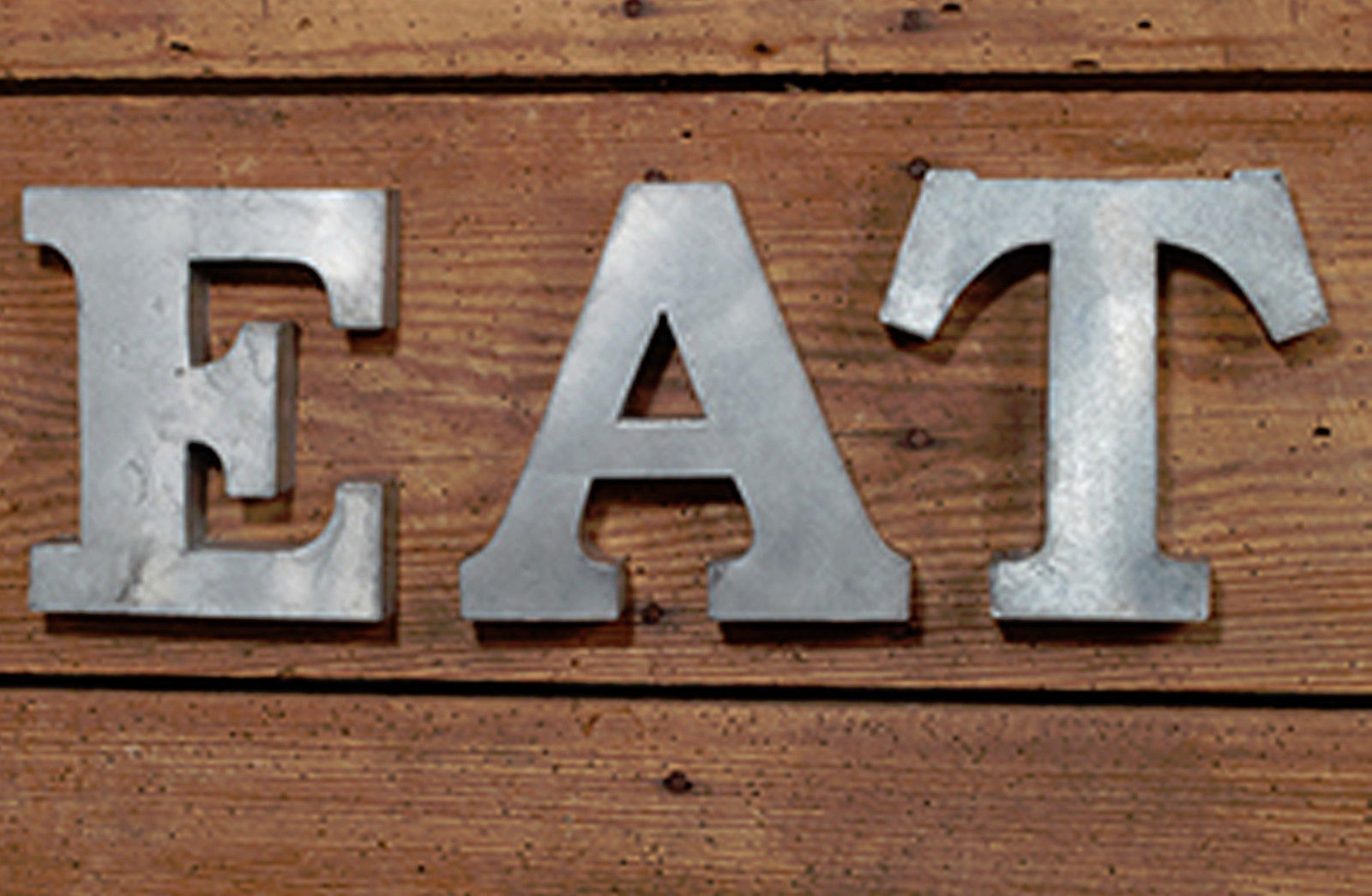 Galvanized Metal E.A.T. Letters Word Wall Art Kitchen Decor Farmhouse Industrial