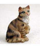 Shorthaired Brown Tabby Cat TINY ONES Figurine Statue Pet Resin - $8.99