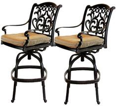 Patio outdoor living cast aluminum bar stools set of 2 swivel Flamingo Bronze. image 1