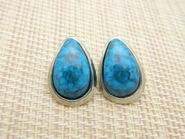 Faux Turquoise Silver Tone Tear Drop 1980s Vintage Post Earrings - $13.86