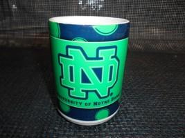 Old Vtg NOTRE DAME FIGHTING IRISH ND COFFEE CUP Mug Advertising Made USA - $19.79