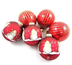 Vintage Lot of 6 Red Glass Christmas Ball Ornaments Krebs Rauch Glitter ... - $19.62