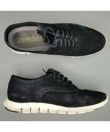 Cole Haan ZeroGrand Oxfords Womens Size 7 B Suede Shoes Wingtip Black White - $74.79
