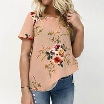 2018 ZANZEA Women O Neck Short Sleeve Summer Boho Floral Print Casual Loose Blou - $24.66