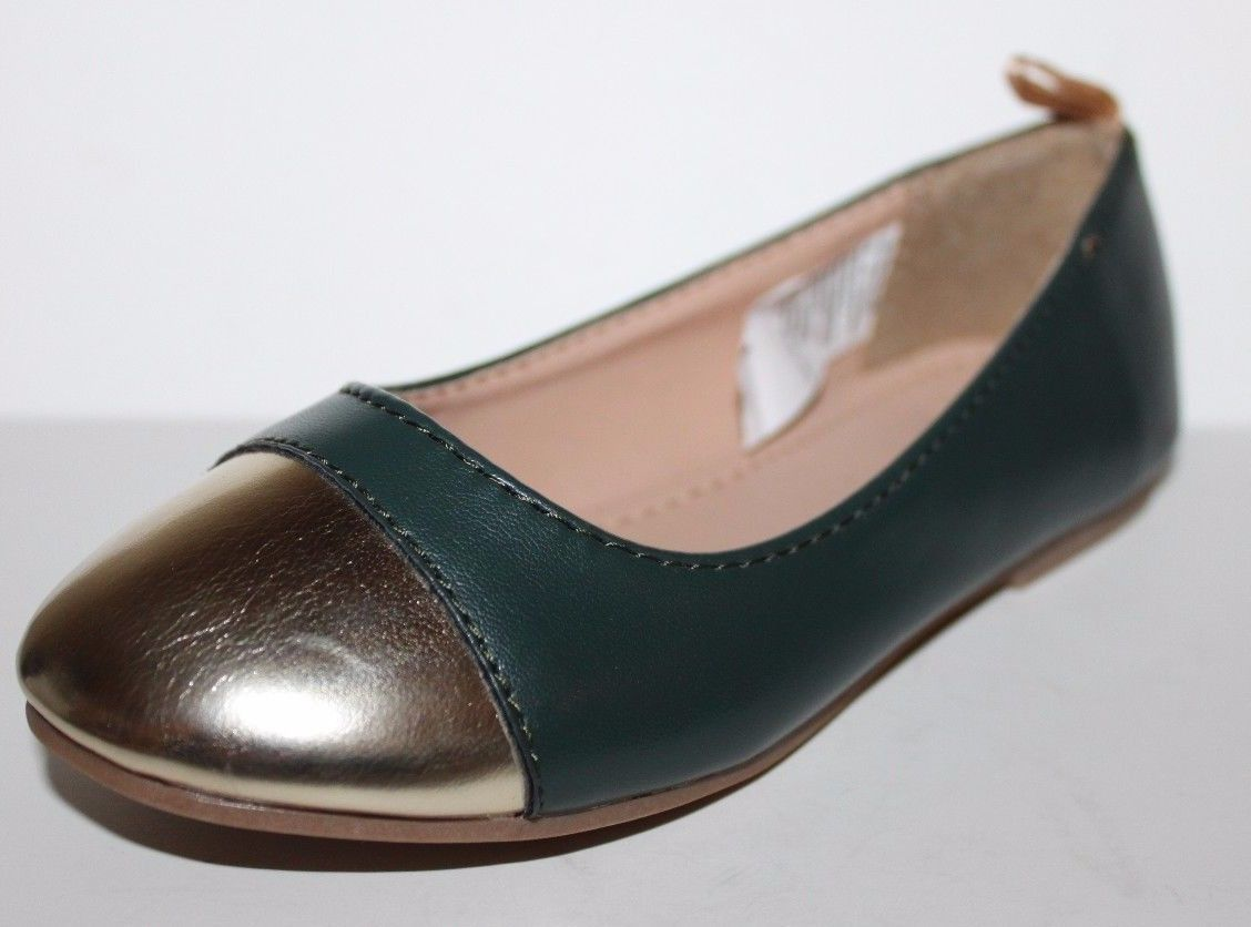 Gap Kids NWOB Girls Green Faux Leather Ballet Flats w/ Gold Toe