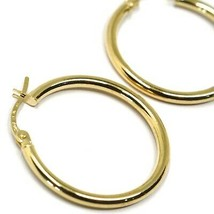 18K YELLOW GOLD ROUND CIRCLE EARRINGS DIAMETER 20 MM, WIDTH 2 MM, MADE IN ITALY image 2