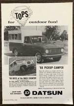 1966 Datsun Pickup Camper & Datsun Patrol Print Ad Tops for Outdoor Fun - $12.95
