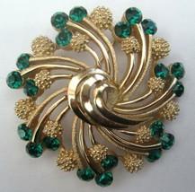 Vintage Crown Trifari Brooch Pin Green Rhinestones Gold Tone Swirl Design - $49.45