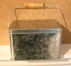 VINTAGE Galvanized Metal Tin BOX W/HANDLE/LID LINED PLANTER/NAPKIN HOLDE... - $19.75