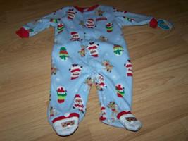 Infant Size 0-3 Months Blue Holiday Fleece Footed Sleeper Santa Deer Sno... - $12.00