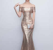 Gold Off Shoulder Short Sleeve Maxi Sequin Dress Lady Any Size Sequin Maxi Dress image 4