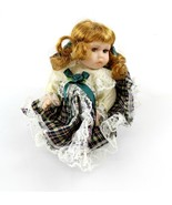 """Miniature 6"""" Porcelain Doll with green dress collectible toy NWOT - $20.00"""