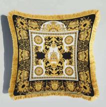 Velvet Luxury Designer Square Cushion Gold Fringe Black Gold Baroque Ornate Desi - $29.00