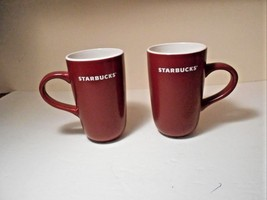 """Starbucks set of 2 Maroon white 5.25"""" x 3"""" cool excellent condition cute - $17.55"""