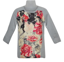 Women's Petite Grey & Floral-Print Raglan Sleeve Sweater by Alfani (choose size) - $25.00