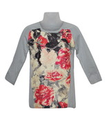 Women's Petite Grey & Floral-Print Raglan Sleeve Sweater by Alfani (choo... - $25.00