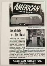 1947 Print Ad American Coach Travel Trailers Cassopolis,Michigan - $9.32