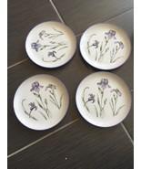 Set Of 4 Plates Plates Iris Design Made In Japan - $9.45