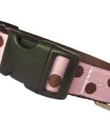 Candy Dot: Brown on Pink Grosgrain Adjustable Dog Collar / Made in Japan - $29.00