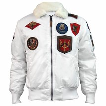 Top Gun Official B 15 Mens Flight Bomber Jacket with Patches Weiß - $271.35+