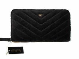 Juicy Couture Black Label Black zip around crown quilted Velour Wallet r... - $84.11