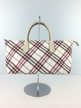 BURBERRY BLUE LABEL handbag canvas ki white color check pattern used - $171.99