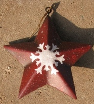 Metal Christmas Ornament OR504 - Red Star w/snowflake - $1.95