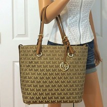 Michael Kors Handbag Signature Tote Bag Jacquard Beige/Tan Purse NWT - $128.00