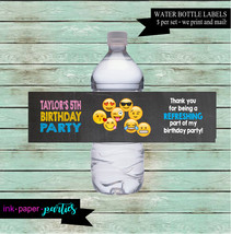 Emoji Emojis Emojicons Birthday Party Favors Favor Water Bottle Labels W... - $3.50