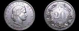 1893 Swiss 20 Rappen World Coin - Switzerland - $34.99