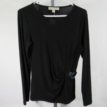 Michael Kors Blouse Shirt Top Sz M Black Long Sleeves Faux Waist Buckle C82 - $16.63