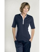 Stylish Golf & Casual Dark Blue Mock Polo with Rhinestone Zipper - Golde... - $29.95