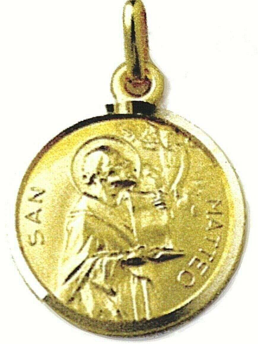 SOLID 18K YELLOW GOLD ROUND MEDAL, SAINT MATTHEW, MATTEO, DIAMETER 17mm