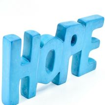 Vaneal Group Hand Carved Soapstone Sky Blue HOPE Free-Standing Word Sign Decor image 5