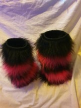 Fluffy Rave Leg Warmers black and pink strips - $18.65