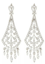 Carolee Clip On Crystal Chandelier Silver-Tone Drop Earrings NWT - $22.81