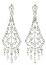 Carolee Clip On Crystal Chandelier Silver-Tone Drop Earrings NWT - £18.22 GBP