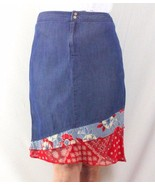 Bets Denim Skirt 10 M size Fabric Accent Hem Lightweight Easy Wear Straight - $11.18