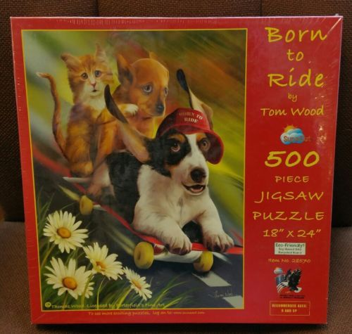 Born to Ride Tom Wood 500 piece Jigsaw Puzzle SunsOut Puppies Kitten Skateboard