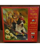 Born to Ride Tom Wood 500 piece Jigsaw Puzzle SunsOut Puppies Kitten Ska... - $34.64
