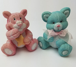 Baby Room Decorations Pink Tiger and Blue Cat Heavy Plastic Textured - $7.84
