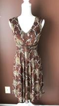 Signature By Sangria Brown White Bra Sleeveless Animal Print Dress SZ 6p - $16.82