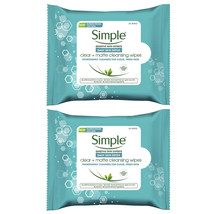 2-New Simple Daily Skin Detox Clear + Matte Cleansing Wipes, Cleanses fo... - $15.99