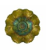 Northwood Nippon Green Carnival Glass Bowl Dish Ruffled Edge Basketweave Vintage - $69.29